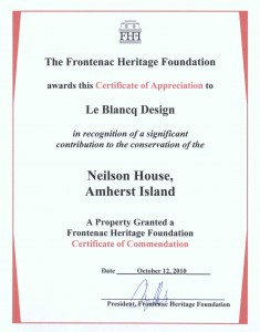 Frontenac Heritage Foundation Certificate of Appreciation