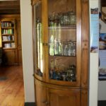 custom curved corner curio cabinet with tempered glass