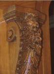 Hnad  carved cherry lion corbel