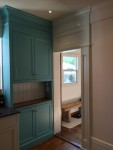 AFTER:  turquoise hutch built in.  Painted custom kitchen Bespoke design
