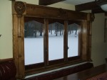 Lion window trim, with gothic cluster columns, Lion masks, and Waterloo Lion statue