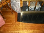Random width wide plank Cherry  floor  with  custom  curved  border