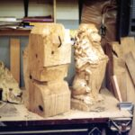 "Carving Dining Table Lions of 14"" square white oak"
