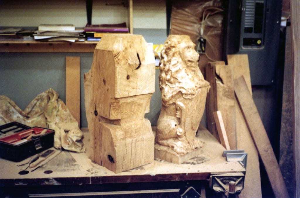 Carving Dining Table Legs: Lions, Of 14u2033 Square White Oak