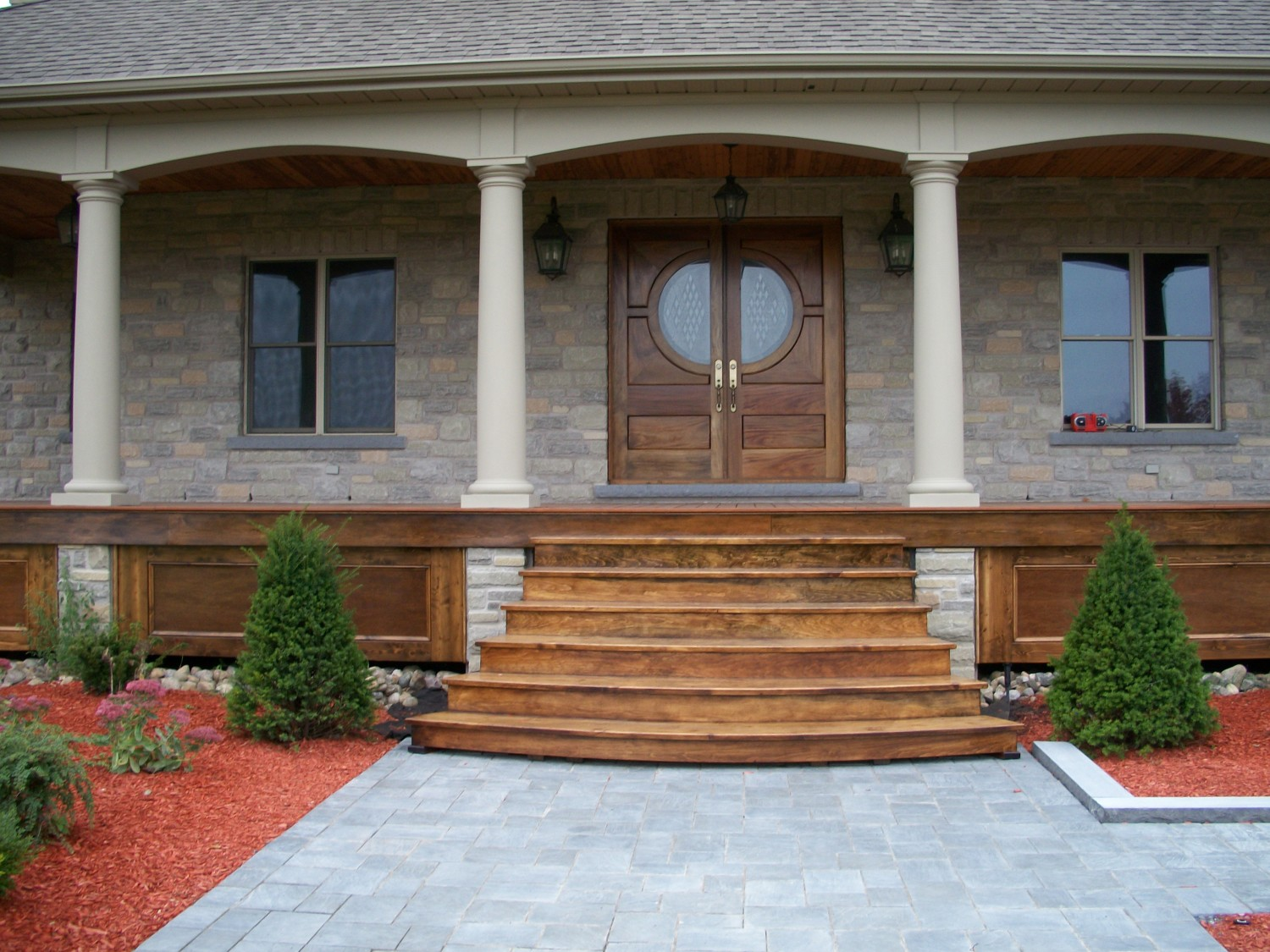Custom designed exterior doors columns porch stairs for External porch doors