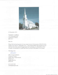 Letter of appreciation for successfully removing 140 year-old spire