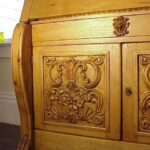 Hand-carved Baroque Secretaire in a relaxed Shellac and wax finish