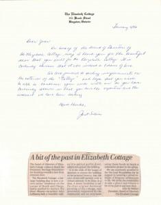 Gothic Door built at historic Elizabeth Cottage - Kingston Whig Standard, Letter of Appreciation