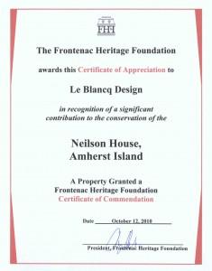 Frontenac Heritage Foundation Certificate of Appreciation