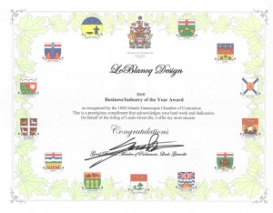 Business Industry of the Year Award 2010 from Hon Gord Brown, Member of Parliament