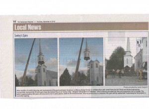 140 year-old church spire is removed. This was a feat of construction. John Le Blancq made the final cut to separate, and was alone in the Tower before it was hoisted. It was also front-page of the Kingston Whig Standard